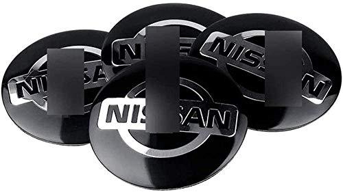 MISSLYY 4 Stück Car Radnabenkappen für Nissan Qashqa Tiida Teana Skyline Juke X-Trail,Auto Abzeichen Logo Nabenabdeckungen Staubdicht Styling Zubehör,56mm