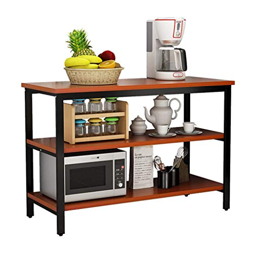 CHNTC Solid Kitchen opbergrek, keukentafel, multifunctionele stalen houten eettafel
