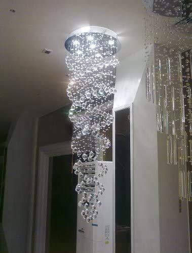 Woodtree Techo Espiral Doble de la lámpara de Cristal K9 Gota de Lluvia diseño LED del Accesorio Ligero D50 x H150 cm