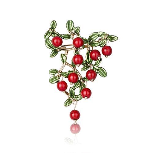 Yazilind Alloy Cherry Broschen Nette Frucht Emaille Anstecknadeln Brosche Pin Schmuck Geschenke für Frauen Schmuck