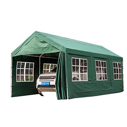 Heavy Duty Carport, 9 stuks, eenvoudige regenbestendige zonwering, outdoor-camper, carport met afneembare zijplaten, deuren en 8 stalen leggers, garage voor veiligheidsvoertuigen, wit Surroundedby