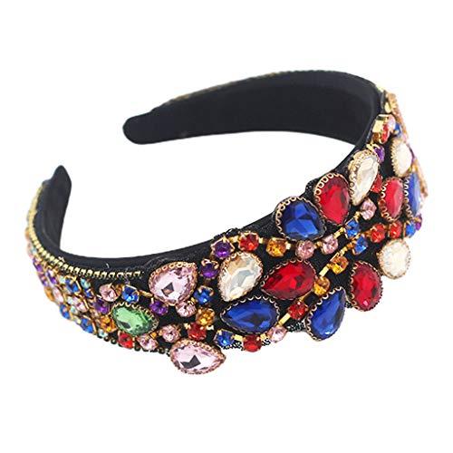 Ixkbiced Bandana de joyería Colorida barroca Cadena de Diamantes de imitación de Cristal Brillante Aro Ancho para el Cabello