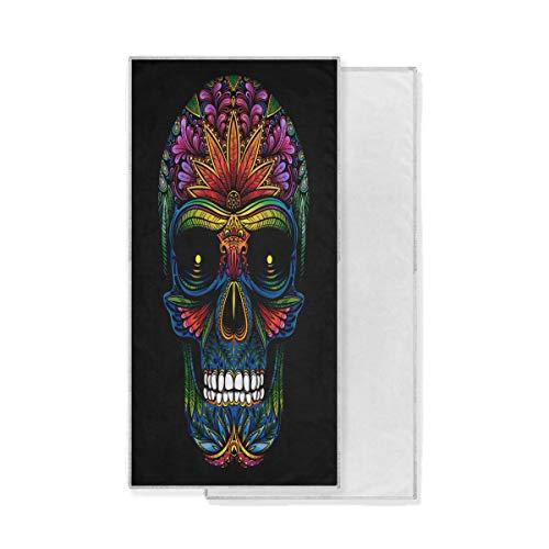 BIGJOKE Tattoo Mexikanische Totenkopf-Muster Gym Sport Handtuch saugfähig Einzigartiges Handtuch schnell trocknend Waschlappen für Badezimmer Reisen Fitness Spa Schwimmen Workout (76,2 x 38,1 cm)