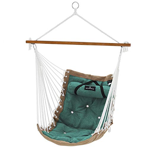 SONGMICS Hängesessel mit Kissen, XL Affenschaukel mit Polsterung, Hängestuhl mit Bambusstange, 70 x 120 cm, bis 200 kg belastbar, Indoor und Outdoor, grün-Khaki GDC46CJ
