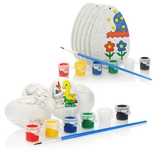 com-four® 24-teiliges Bastel- und Malset für Kinder - Ostereier aus Schaumstoff und Styropor zum Bemalen - Eiermalset mit Malfarbe und Pinsel [Auswahl variiert] (24-teilig - Malset - Ostereier)
