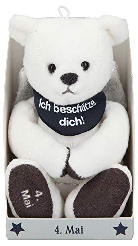 Depesche 8139.125 - Schutzengel Bär aus Plüsch, ca. 9 cm, mit Datum 04. Mai, Geschenk für Geburtstag, Jahrestag oder Hochzeitstag