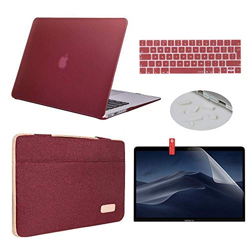 """MacBook New Pro 13 Case 2019 2018 2017 2016 Model A2159/A1989/A1706/A1708 Bundle 5 in 1, iCasso Hard Case with Sleeve,Screen Protector,Keyboard Cover&Dust Plug Compatible New MacBook Pro 13""""- Wine Red"""
