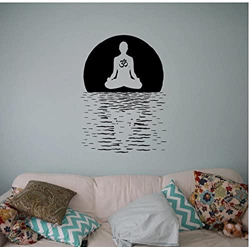 Yoga Lotus Pose Studio Wallpaper Decoración Sala de estar Extraíble Tatuajes de pared Yoga Room Art Decoración Vinilo Póster Murales 43X57cm