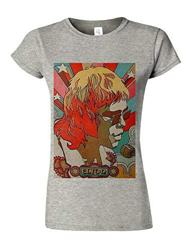 Best Select London Elton John T-shirt inspiré de la musique de film tendance pour femme - Gris - XX-Large