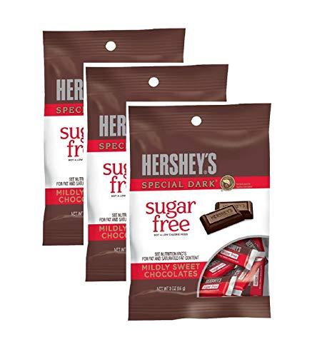 Sugar Free Hershey Special Dark Mildly Sweet Chocolates, 3 Oz (Pack of 3)