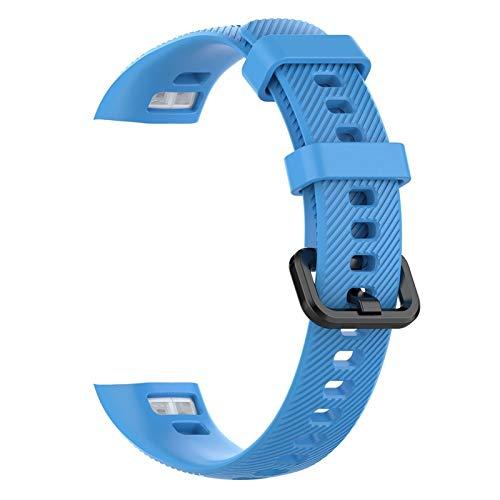 Silicone Watch Band Reemplazo Pulsera Correa HW Banda 5 4 Pulseras de deportes suaves coloridas 10688 (Band Color : A blue)