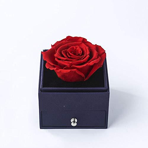 Rosa Eterna Roja en Caja joyería - Flores San Valentín - Flores preservadas Pedida de Mano, Bodas de Oro, Aniversario Pareja, Pedida de Matrimonio con Tarjeta DEDICATORIA