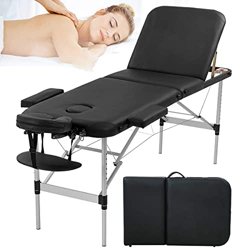 Aluminium Massage Table Portable Massage Spa Bed 3 Fold Professional Massage Salon Bed Height Adjustable Massage Beds Tattoo Bed with Metal Frame, 73 Inch Folding Massage Spa Bed, Black