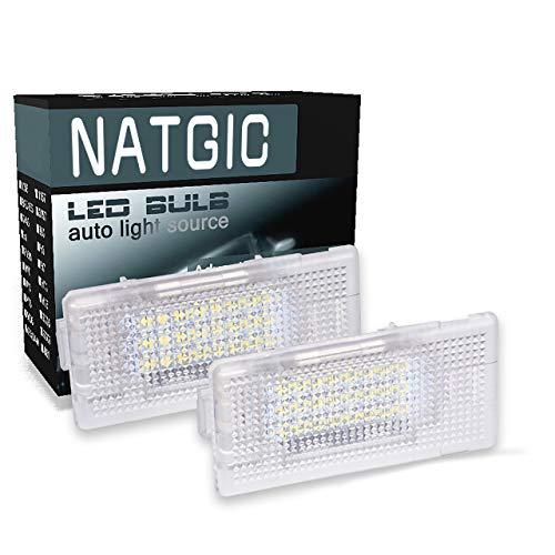 NATGIC 1 Paire de Lumière de Plaque d'immatriculation à LED 24SMD Can-Bus Intégré Lampe de Plaque d'immatriculation à LED étanche 12V 3W pour B-MW Série 3 E36 E38 E46 E60 E90 E87 - Blanc 6000K
