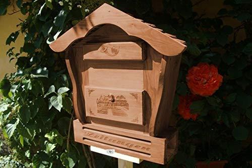 Haus Briefkasten HBK-SD-DUNKELBRAUN aus Holz in amazon dunkelbraun braun Briefkästen HolzBriefkasten HBK-SD teak Farbe Postkasten Spitzdach