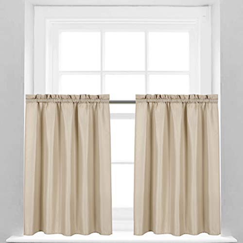 Valea Home Waffle Weave Textured Half Window Tier Curtains for Bathroom Water Repellent Window Covering Kitchen Short Curtains, 72 x 36 inches, White, Set of 2