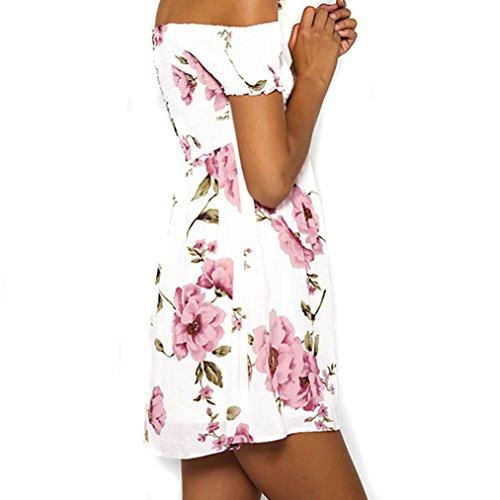 Womens Dress,Neartime Off Shoulder Floral Beach Beautiful Evening Party Short Dress (L, Pink)