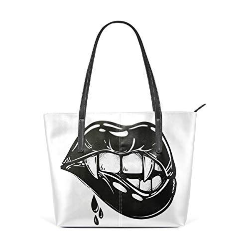 NR Multicolour Fashion Damen Handtaschen Schulterbeutel Umhängetaschen Damentaschen,Sexy Vampir beißt sich auf die Lippen Pop Art Print Flash Tattoo Style Verführerisch Sinnlich