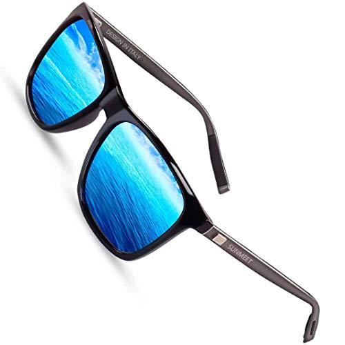 Sunmeet Gafas de sol Hombre Polarizadas Clásico Retro Gafas de sol para Hombre UV400 Protection S1001(Azul/Pistola)