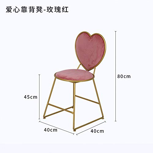 Make-up stoel, Girly Heart slaapkamer eenvoudige bureaustoel, roze hart gevormde stoel schoonheid dressing stoel