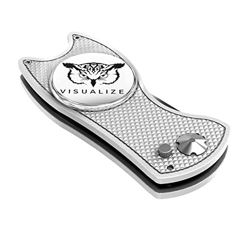 VISUALIZE Talon Premium All-Metal Switchblade - Style Divot Repair Tool - Add to Your Favorite Golf Accessories - Divot Tool with Silicone Owl Ball Marker - 3-in-1 Multi Tool (Silver)
