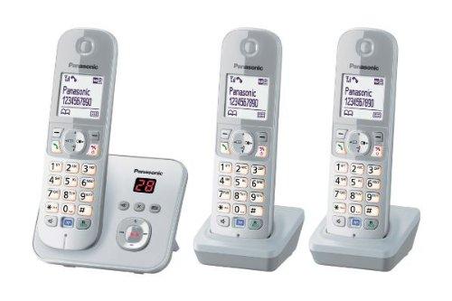 Panasonic KX-TG6823GS DECT draadloze telefoon met antwoordapparaat, GAP-telefoon, vaste net, parelzilver