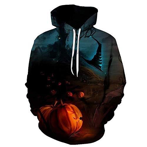 ASSD Hoodie Men's Halloween Night Pumpkin 3D Printed Digital Loose Couple Hoodie Fashion Sweatshirt Long Sleeve Top Sweatshirt Casual Hip Hop Sports Cool Street Hoodie (Color : Hoodie-3, Size : M)