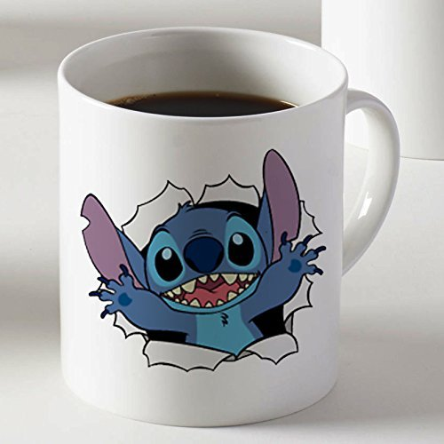 Leonat Cara linda sorpresa Lilo y Stitch Mug dos lados