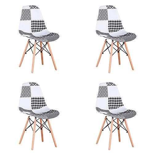 Un conjunto con 4 sillas de comedor hechas de patchwork moderno en estilo nórdico tapizado con tela de patchwork y silla de...