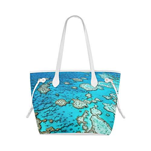 Bolso de hombro para mujer Australia Gran barrera de coral Coral Beach Tote Bag Bolso de hombro para portátil Gran capacidad resistente al agua con mango duradero