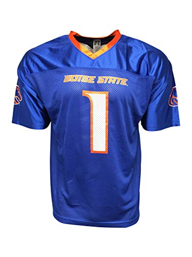 Russel Boise State Broncos Trikot mit kurzen Ärmeln, Netzstoff, Blau und Orange, Blau Kein Name, Large