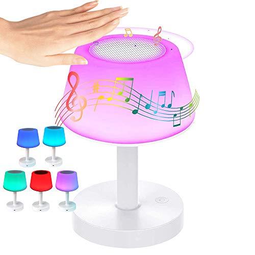Bizcasa Lampada LED con Altoparlante Bluetooth, Lampada da Comodino, USB Ricaricabile Portable Luce Notturna, Touch Dimmerabile 7 Colore 3 Luminosità