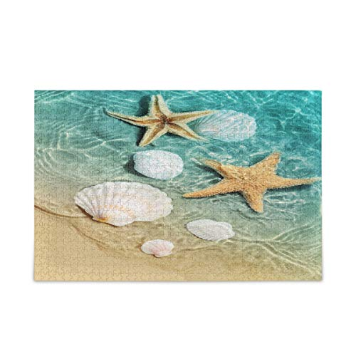 Qilmy 500 Pieces Summer Beach Starfish and Seashell Jigsaw Puzzles for Adult - Kids Educational Learning Toy for Boys Girls - Home Decoration - Childrens Teens DIY Intellective Game