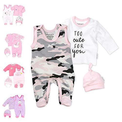 Baby Sweets 3er Baby-Set mit Strampler, Langarm-Shirt & Mütze für Mädchen in Rosa Weiß/Erstausstattung Bio-Strampler-Set im Camouflage-Print für Neugeborene & Kleinkinder in Größe: 6-9 Monate (74)