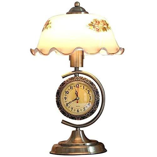 QXinjinxtd Lámparas para Habitaciones Lámpara de Mesa Retro Reloj, Interruptor de botón Dormitorio lámpara de cabecera, de múltiples Funciones de la Sala de Estar decoración de la lámpara, Protección