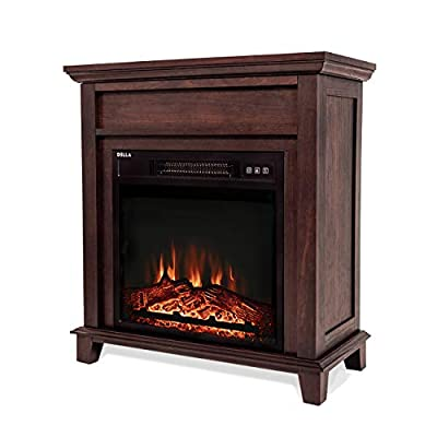 "DELLA 18"" Electric Fireplace Freestanding Mantel Firebox 3D Flame w/Logs Heater, White, Gray and Wood"