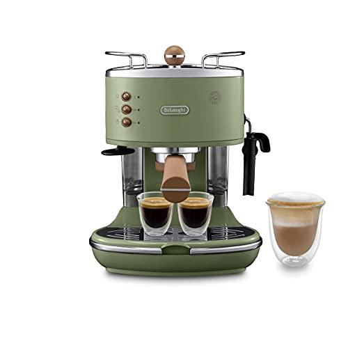 De Longhi Icona Vintage ECOV311.GR Macchina da Caffè Espresso Manuale e Cappuccino, Caffè in Polvere o in Cialde E.S.E., 1100 W, Verde