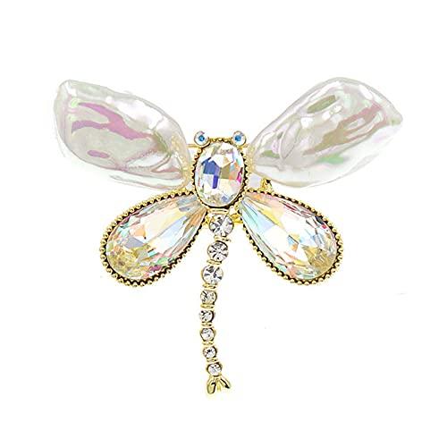COLORFULTEA Broches De Libélula De Perlas Y Cristal para Mujer, Broche De Insecto, Accesorios De Abrigo, Joyería De Diseño De Primavera