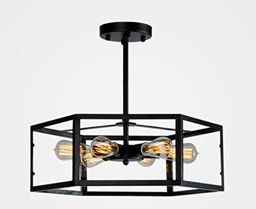 BWLZSP Americana desván Vintage de Hierro Forjado Caja de Cristal lámpara Restaurante Bar café Dormitorio nostálgico Viento Industrial lámpara lu127618py