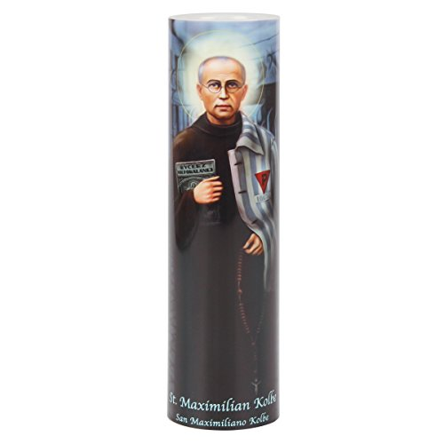 St Maximilian Kolbe, LED Flameless Devotion Prayer Candle, Religious Gift, 6 Hour Timer for More Hours of Enjoyment and Devotion! Dimensions 8.1875' x 2.375'