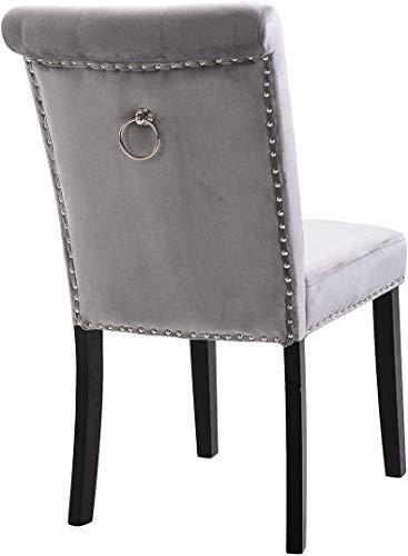 Reposapiés y una silla Inicio taburetes altos sill Silla de comedor Sala de terciopelo gris con el golpeador Volver anillo del cromo de alta Más Grueso tapizada con tachuelas del asiento S del tipo de