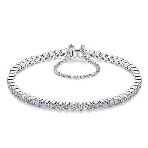 HMANE 2.5mm Piedra 17cm Longitud 925 Pulsera y brazaletes de Plata esterlina Hombres para Hombres y Mujeres Joyería