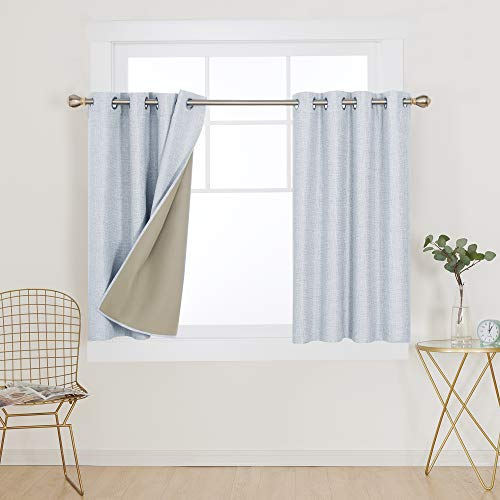 Deconovo Full Blackout Curtains Soundproof Curtains Bonding Microfiber Fabric Window Curtains 45 Inch Length for Kitchen 52x45 Inch Navy Blue 2 Panels