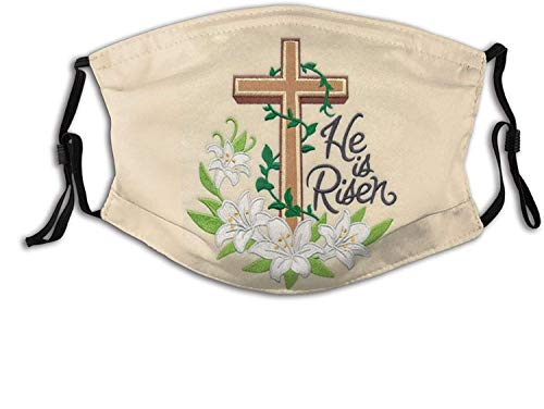 Christian Virgin Marie Jesus Cross Face Mask for Adults, Face Scarves Comfortable Reusable with 2 Filters for Men Women Teens-Easter Lily Cross-1 PCS