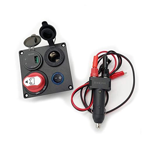 Impetuous Panel de Interruptor de automóvil Interruptor de batería 100A Cigarette Socket/Enchufe Adaptador 12V 10A Dual USB Volmeter QC3.0 Multifunción (Color : Option 6)