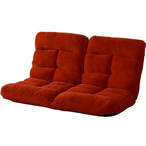 DORIS 座椅子 2人掛け ローソファ フロアソファ 左右独立リクライニング 奥行調整可能な2箇所の14段階ギア搭載 ふっくらサンゴマイヤー生地 レッド ピオンセ