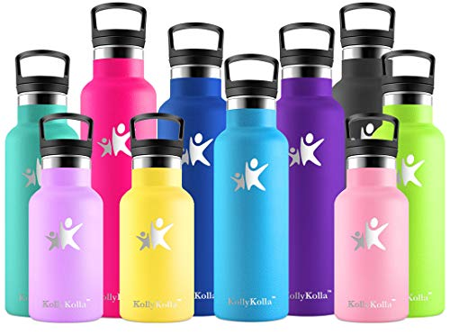 KollyKolla Botella de Agua Acero Inoxidable, Termo Sin BPA Ecológica Reutilizable, Botella Termica con Pajita y Filtro, Water Bottle para Niños & Adultos, Deporte, Oficina, Yoga, (350ml Az