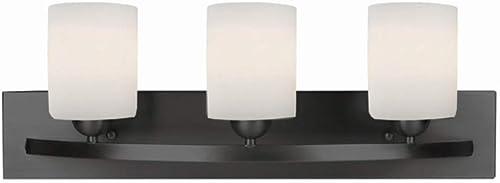 discount Canarm LTD IVL370A03ORB-O Hampton 3 Light Vanity, outlet sale Oil Rubbed online Bronze with Flat Opal Glass online sale