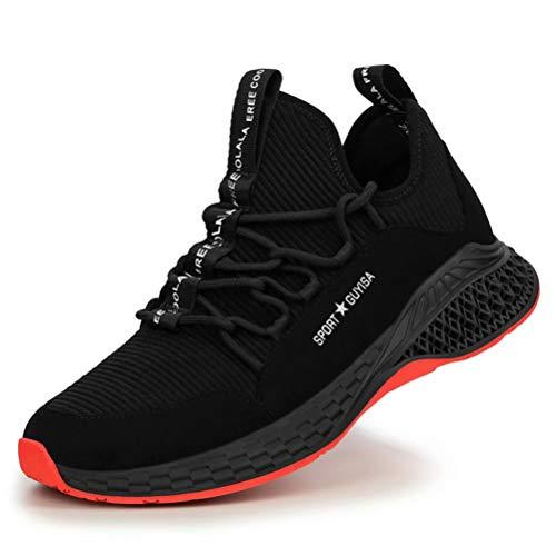 [KUDOON] 安全靴 スニーカー 作業靴 メンズ レディース メッシュ 鋼先芯 ミッドソール 超軽量 防滑 通気性 ソール つま先保護 防刺 耐摩耗 衝撃吸収 クッション性 工事現場 作業 通勤 アウトドア 防護靴 男女兼用 A黒 43