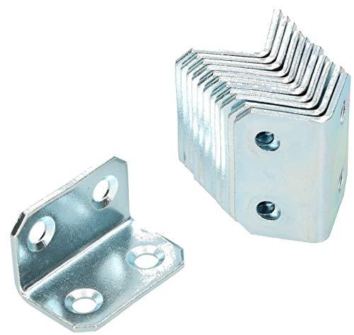 KOTARBAU Winkelverbinder 18 x 18 x 30 mm Stahl Bauwinkel Montagelöcher Möbelwinkel Verzinkt Schwerlast Holzverbinder Montagewinkel Stuhlwinkel (25)